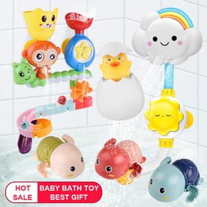 HOT SALE Baby Bath Toys Wall Suction Cup Marble Race Run Track Bathroom Bathtub for Kids Play Water Games Set Toy for Children C0220