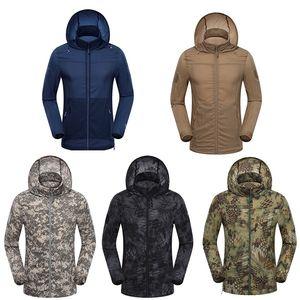Caça ao ar livre tiro montanhismo roupas caminhadas roupas à prova de vento camuflagem leve ultra fina windbreaker jaqueta no05-123
