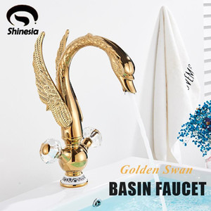 Shinesia Golden Bird Basin Faucet Swan Shape Nordic Luxury Style Hot and Cold Water Mixer Tap for Bathroom Vessel Sink