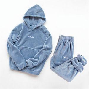 Winter Coral Fleece Pajama Set Women Thick Warm Flannel Velvet Cozy Two Pieces Sleepwear Suit Ladies Home Clothing Homewear