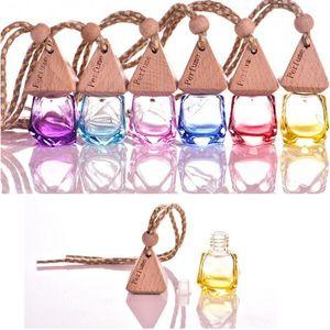 6ml Empty Color Glass Air Freshener Car Perfume Hanging Fragrance Refillable Diffuser Bottle 10pcs lot P133