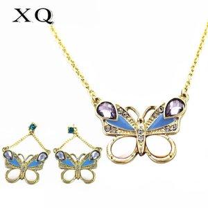 XQ Beyaz Kabuk Kelebek Horoz Mavi Kuş Hayvan Kolye Küpe Bilezik Kadın Takı Seti Altın-Renk Çinko Alaşım Kulak Klipsi