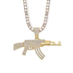 New Men Necklace Brass + CZ Gun Shape Pendants Rapper Jewelry Gift hip hop necklace bling bling Zircon tennis chain iced out1