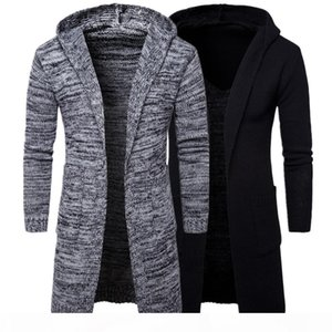2018 Autumn Winter Men's Long Sleeve Slim Jacket Trench Stylish Cardigan knit Warm Knit Sweaters Jackets for male Overcoat Y913