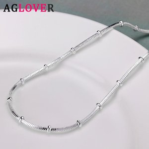 AGLOVER 925 Sterling Silver 18 Inch Snake Chain Beaded Necklace For Woman Men Fashion Charm Jewelry Party Birthday Gift
