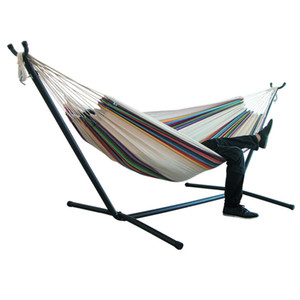 200*150cm Indoor Outdoor Camping Hammock Hanging Chair Durable Comfort Thick Canvas Stripe Hammocks Swing Chairs without Shelf Z1202