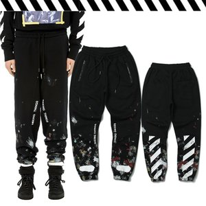 Chaopai autumn and winter style splash ink graffiti diagonal striped pants men and women Huang Xiaoming Street Plush sportswe