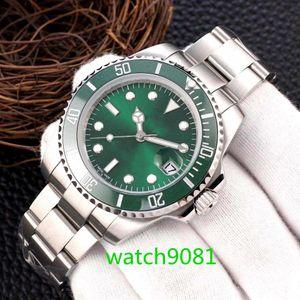 Mens montres 40mm lunette en céramique en acier inoxydable en acier inoxydable Méchanisme Movoir Green Reloj de Lujo Sapphire 5ATM Watch Watch
