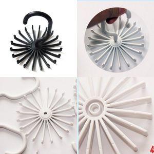 Black White Racks Rotating Tie Hanger Holder Plastic Living Room Neat Hat Wardrobe Storage Ornaments Stand 0 95yy K2