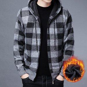 Зима 2021 Новый мужской кардиганский флис утолщенные кардиган вязаный свитер / мужской свободный теплый теплый с капюшоном добавить шерстяную куртку