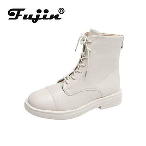 Fujin Single Boots Women's 2020 Spring New Short Boots Fashion Autumn Breathable Round Toe Lace Platform Flat Bottom Ankle