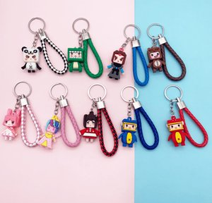 China new TV movie accessories Cute cartoon anime mini world keychain game doll blind box hand-made capsule woven leather cord keychain ring