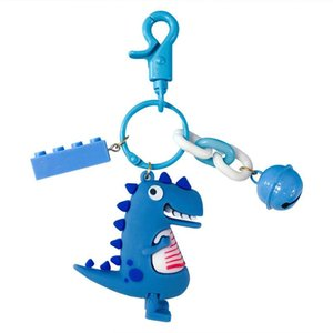 Cute Simulated Dinosaur Key Chain for Bag Backpack Key Ring Charm Cartoon Car Keychain Phone Pendant Hanging Ornament for Gift Promotion