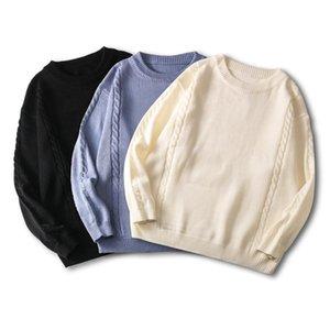 Осенью и зима новых тренд уличных любителей носить сплошной цвет экипажа шеи свитер мужчина и женский свободный пуловер свитер