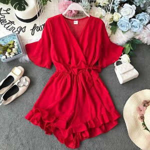 Sweet Ruffled Women Playsuits Elastic High Waist Bow Female Jumpsuit Romper Butterfly Sleeve Short Overalls for Girls