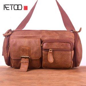 HBP AETOO Homme Cuir Grand sac à taille, sac à poitrine en cuir mate vintage, sac à talons aiguilles multifonctionnels extérieurs