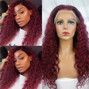 Synthetic Noir / Rouge Kinky Burly Dentelle Front Perruques avant pour Femmes Deep Profond Coiffures Curly Afro Spirale Curls Quotidien Perruque Perruque Habitugie
