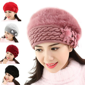 Flower Hats Fashion Women Slouch Baggy Winter Warm Soft Knit Crochet Hat Elegant Knit Caps Trendy Crochet Woolen Hats Winter