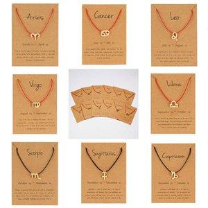 12-Constellation Sinal do Zodíaco Vermelho Curvo Touw Counple Braceletes Leo Libra Tecido Bracelete Na Moda Jóias Homens Mulheres Venen