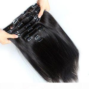 Grade 8A 70g 100g 120g 140g 160g Full Head Silky Straight virgin Remy Clip in malaysian peruvian Human hair extension