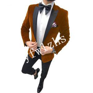 Handsome Velveteen Groomsmen Peak Lapel Groom Tuxedos Mens Wedding Dress Man Jacket Blazer Prom Dinner suits (Jacket+Pants+Tie)W290