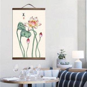 Wholesale estilo chinês quatro estações lona pintura decorativa quarto sala de estar arte maciça pinturas de rolagem de madeira customizável