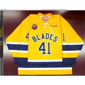 Freeshipping Nombre personalizado barato # Saskatoon Blades Retro Hockey Jersey Kelly Chase Hockey Jersey o Personalizado Cualquier nombre o Number Retro Jersey
