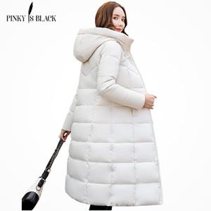 Pinkyisblack Com capuz parkas longas casaco de inverno mulheres wadded outerwear engrossar para baixo jaqueta acolchoada