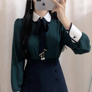 2020 Brand New Women Cute Shirt Peter Pan Collar Bowtie Pearl Womens Tops and Blouses High Quality Long Sleeve Blusas Mujer