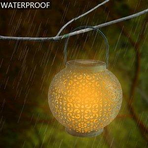 Newest Design F8 Straw Hat Lamp Beads Solar Light Control Automatic Induction Garden Decoration Outdoor Waterproof Garden Retro Iron Lamp