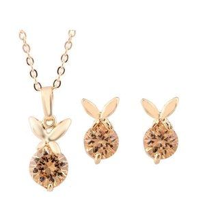 Newest Rabbit Zircon Necklace Earring Sets Fashion Jewelry For Women Best Gift High Grade Zircon Jewlery Sets 1305 Khqjh