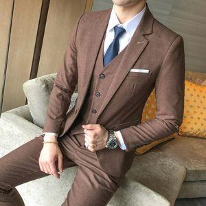 Solid Luxurious Terno slim fit men 3 piece suits wedding dress For men Business Casual suits homens blazer mens suit tuxedo