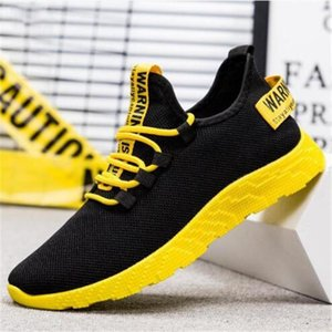New Mesh Men Casual Lace-up Sneakers Breathable No-slip For Male Tennis Flying Weaving Tourist Leisure Sports Shoes