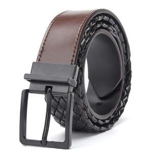 Aoluolan Casual pin Buckle Braided Belt male Belts For Women Jeans men's Belt T200427