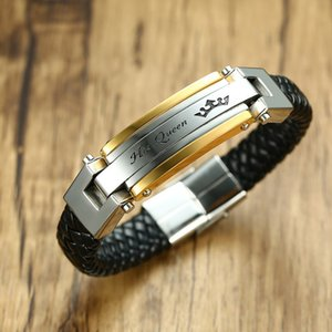 Lovers Braid Couples Bracelet Leather Bangle For Men Women In Black Color Stainless Steel King Queen For Her His Braslet Jewelry Y1119