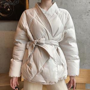 Hzirip 2020 Новый дизайн Женщины Женщины Зима Сплошные Пояса пальто Толстые высокого качества Студенты Outwear Сладкие Женщины Плюс Размер 2 цвета