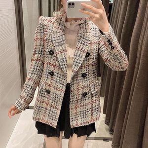 MXTIN Moda Dupla peito xadrez Tweed Blazers Casaco Mulher 2020 Vintage Escritório Senhoras Outerwear Casual Casaco Femme