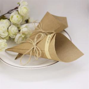 Retro papel kraft presente embrulhar buquê cor preliminar cone secado caixa de embalagem de flores diy corda candy casamento dia dos namorados m2