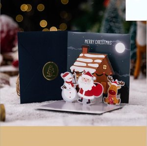 Christmas 3D Greeting Cards Christmas Eve Christmas Greeting Happy Holiday Cards 3D Three-dimensional Santa Claus Card Elk Snowman GWB3706