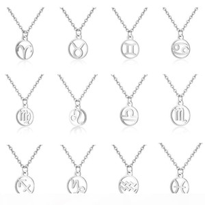 12 Constellation Zodiac Sign Necklace for Women Stainless Steel Silver Link Chain Leo Libra Aries Circle Pendant Horoscope Astrology Jewelry