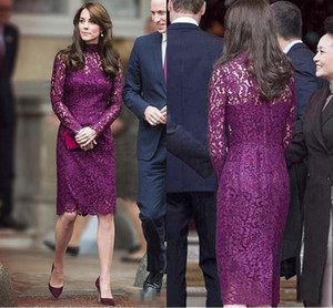 Purple Lace Mother of the Bride Dress Short Knee Length High Neck Long Sleeve Sheath Formal Wedding Party Gowns Evening Dress
