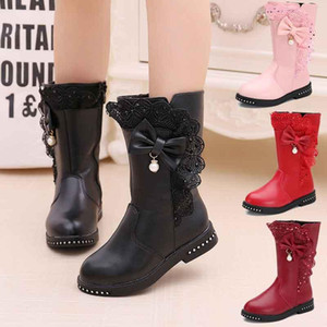 Winter Autumn Kids Boots Butterfly-knot Rivet Pearl Lace Princess Girls Dress Shoes PU Leather Botas Size27-39 Teenage Snowboots