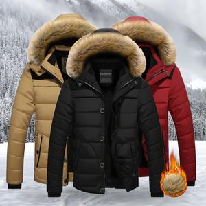Men's Windbreaker Jackets Waterproof Fur Hooded Coats Male Casual Coat Mens Clothing Winter Outwear Parka Big Pocket Homme 201130