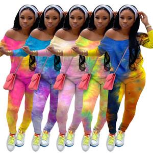 Women Tracksuit Two Piece Set Designer Outfits Fashion Tie Dye Printed Long Sleeve Pants Ladies Plus Size Casual Jogging Suits Sportwear