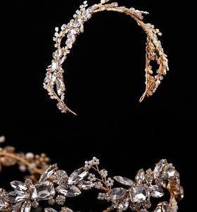 Crystal Pearls Bridal Headpieces Wedding Veil Headbands Tiaras Women Hair Band Headdress Girls Birthday Party Crown Hair Jewelry Accessories