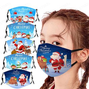 DHL2020 Christmas Mask Party Fashion Design Mask Adult Children Cartoon Washable Print Santa Snowman Dust Haze Mask