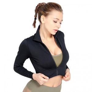 Female Sports Coat Yoga Running Fitness Crop Top Women Black Jacket Sportswear