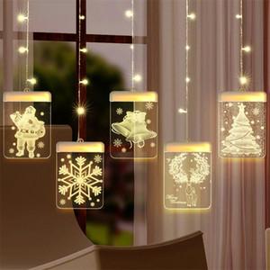 QIFU Elk Snowman Christmas Curtain Light Christmas Decor For Home 2020 Navidad Noel Cristmas Ornaments Xmas Gifts Happy New Year LJ201217