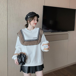 2020 Autumn And Winter Women Sweater Design Sense Lace Leopard Print Ruffled Pullover New Outer Wear Short Round Neck Sweater
