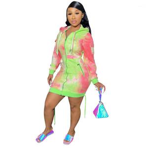 Robes pour femmes Automne Hiver Multi Poche Zipper à glissière en vrac Casual Casual Hoodies Robe Mode Dames Vêtements Cravate Dye Imprimer